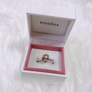 RARE Pandora Champagne Zirconia Diamond Ring